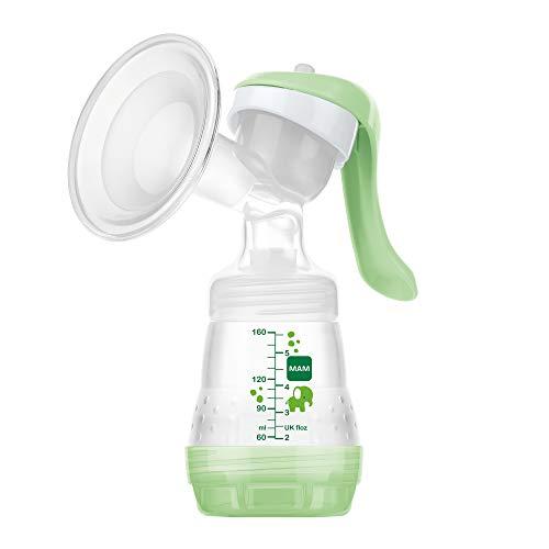 MAM Handmilchpumpe – Komfortable und kompakte Milchpumpe, einzigartig upgradebar – Handpumpe für Muttermilch inkl. 1 x MAM Easy Start Anti-Colic Flasche