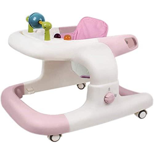 FBDGNG Lauflernhilfe Baby Walker Förderung der Entwicklung des Babys Faltbare Lauflernhilfe Höhenverstellbar mit gepolstertem Sitz mit hoher Rückenlehne und Spielzeug