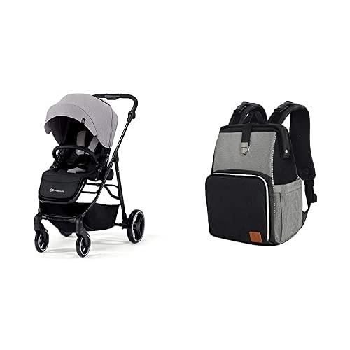 Kinderkraft Kinderwagen VESTO, Sportwagen, Buggy, Zusammenzuklappen, mit 4 Rad Dämpfung + Wickelrucksack MOLLY, Wickeltasche, Reisetasche