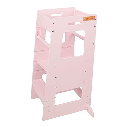 KiddyMoon Lernturm Für Kinder Baby Lernstuhl Montessori Küchenhelfer ST-003, Sperrholz/Rosa
