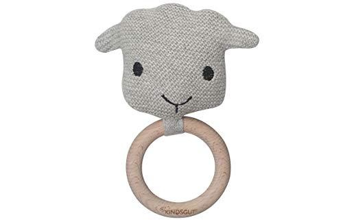 Kindsgut Häkel-Greifling mit Rassel aus 100% OEKO-TEX®-zertifizierter Baumwolle und Holz, dezente Farben und schlichtes Design, ideal für unterwegs zum Spielen und zur Unterstützung beim Zahnen, Schaf