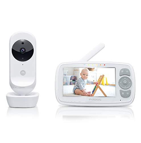Motorola Baby Ease 34 Babyphone mit Kamera 4,3 Zoll Video Baby Monitor HD Display Nachtsicht Bidirektionale Kommunikation Schlaflieder Zoom Raumtemperatur Überwachung Weiß