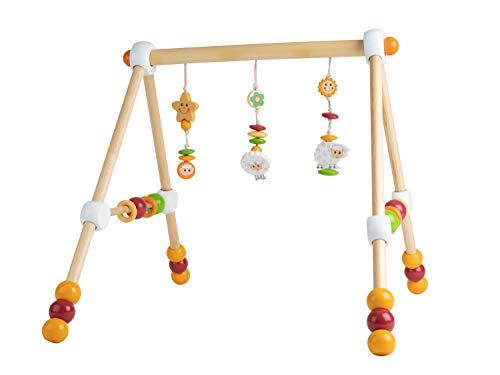 Bieco Spieltrapez Schaf | Spielbogen für Babys mit Figuren, Rasseln und Kugeln | Spielebogen Holz Baby | Spieltrapez Holz | Mobile Holz | Activity Center Baby | Baby Gym | Spielbogen für Babys Holz