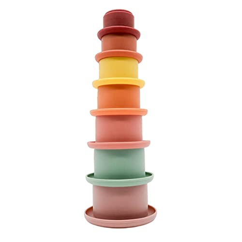 Cyhamse 7 Stück Stapelbecher Baby Bunte Stapelwürfel Baby Spielzeug Kinder Stapelturm Stapelwürfel Baby Sandspielzeug