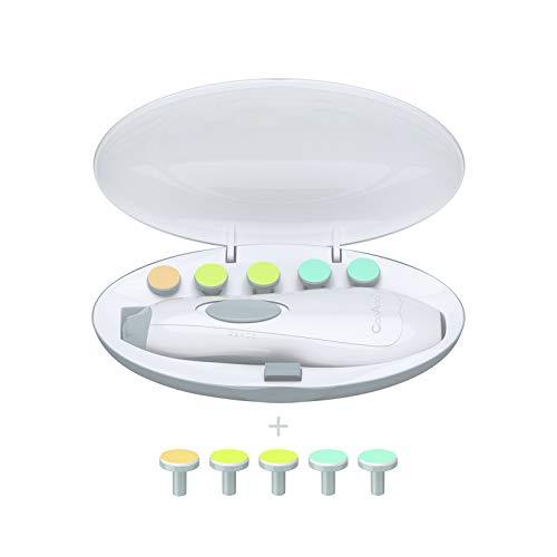 CooAoo Baby Elektrische Nagelfeile Elektrisch Nagelpflegeset Baby Nagel Trimmer Nagelknipser Batteriebetrieben Nagelschere Elektrischer Nageltrimmer für Kleinkind Baby Nail Clipper mit LED Licht
