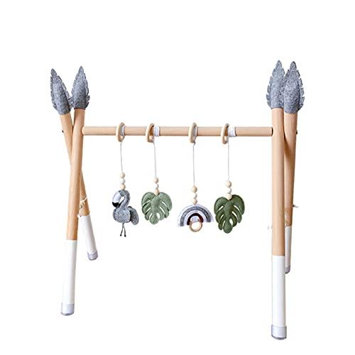 ACAREY Spielgerät aus Holz Babygymnastik 2 in 1 Multifunktions Anhänger Holzspielzeug Activity Center Baby Gym handgefertigter Spielbogen für Babies und Kleinkinder (Typ B)