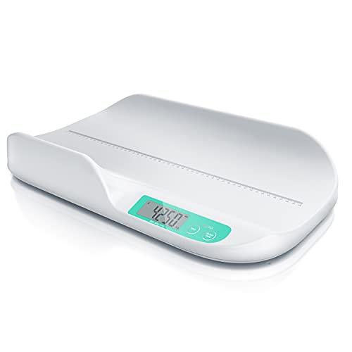 CSL - Babywaage digital - Kinderwaage - Säuglingswaage - Tierwaage - Wiegefläche 56 x 33 cm - 20 g bis 20 kg - 5 Gramm Genauigkeit - für Babys Tiere - 2,9 Zoll Display - Touchbuttons