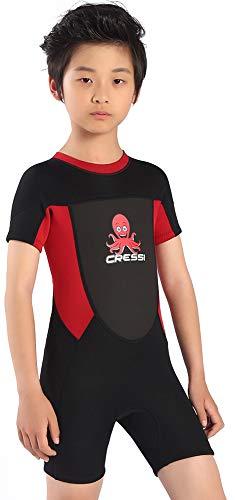 Cressi Unisex-Baby Smoby Shorty Wetsuit Neoprenanzug 2 mm für Kinder, Schwarz/Rot, 2/3 Jahre