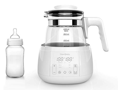 ÜneeQbaby Baby Formula Wasserkocher mit integriertem Thermostat, zur Flaschenfütterung | hält jede gewünschte Temperatur bis zu 24 Stunden lang | hohes Borosilikatglas - EU-STECKER