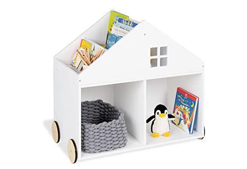 Pinolino Kinderbücherregal mit Rollen Hus, aus MDF, 6 Fächer, gummierte Holzräder, FSC®-zertifiziert (FSC-C120795), für Kinder ab 3 Jahren, weiß
