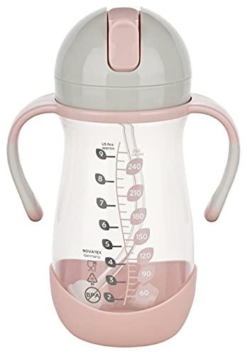 Dentistar® Strohhalmbecher 260 ml – Babyflasche mit dynamischem Strohhalm ab 6 Monate – Auslaufsichere Baby Trinkflasche mit Anti-Rutsch Griffen inkl. Reinigungsbürste – BPA frei – Made in Germany