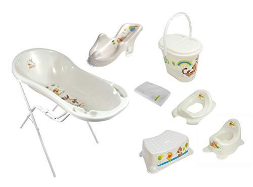 8er Set Perl Premium Disney Winnie Puuh perl weiß Badewanne XXL 100 cm + Badewannenständer + Badesitz + Topf + WC Aufsatz + Hocker + Windeleimer + Waschhandschuh
