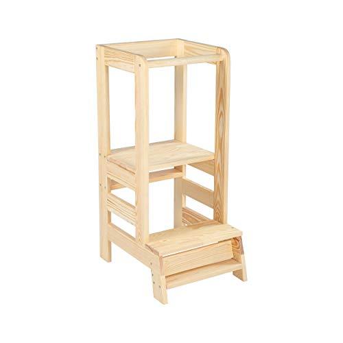 Angelove Lernturm für Kinder Learning Tower Schemel aus Holz Helferturm Küchenhelfer Lernstuhl Montessori Küche Kindermöbel Kitchen Helper Stehhocker Natur Transparent Waldorf Pikler Made in EU