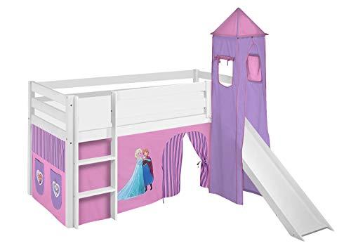 Lilokids Spielbett Jelle Eiskönigin, Hochbett mit Turm, Rutsche und Vorhang Kinderbett, Holz, lila, 208 x 98 x 113 cm