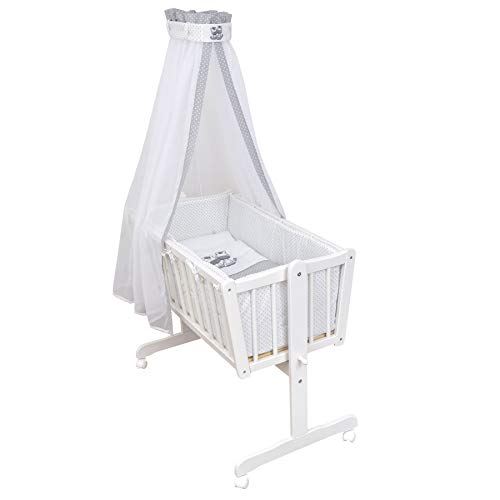 Baby Delux Wiegenset Bettwäsche Set 6-tlg Wiegengarnitur für Babywiege Ausstattung 40x90 Zebra