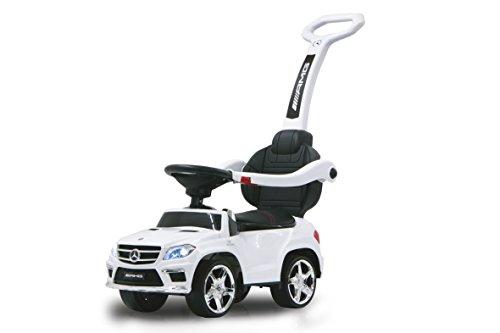 Jamara 460244 Benz Auto Rutscher Mercedes GL63AMG weiß 2in1 – Kippschutz, Kunstledersitz, Kofferraum, Schub-und Haltestange mit Rückenlehne/Schutzbügel, Licht vorne/hinten, Motorsound, Hupe, Musik