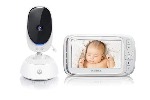 Motorola Baby Comfort 75 Video-Babyphone mit Schwenk- und Zoomfunktion, 5,0 Zoll Farbdisplay, Nachtsicht, 2-Wege-Audio und Temperatursensor, 300m Reichweite, weiß