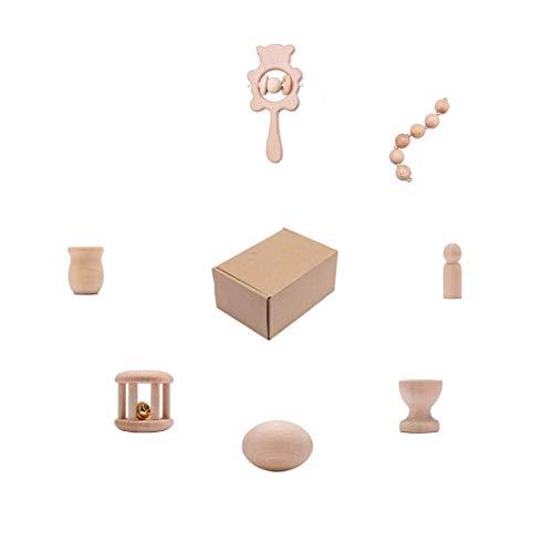 Promise Babe Holz Rassel Baby Beißring 8 Stück Babyspielzeug Set ab 0 3 6 9 Monate Shaker Greifen Rassel Lernspielzeug für Jungen Mädchen Baby Geschenke
