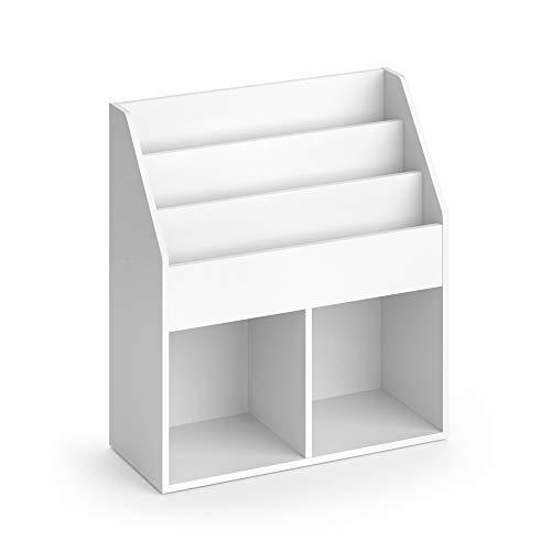 Vicco Kinderregal Luigi Weiß Spielzeugablage Bücherregal Aufbewahrungsregal Comic Regal für Kinder (Weiß, 72 x 79 x 30,7 cm)