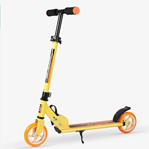 LUQ Scooter Rollen 2 Radroller for Kinder 5 Jahre alt und up Faltbarer Stoßdämpfungsmechanismus höhenverstellbar for Erwachsene und Jugendliche Roller Scooter (Color : Yellow)