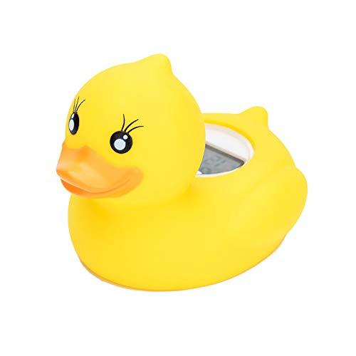 JulySeeYouz Baby-Badethermometer, Badewasser-Temperatur-Digital-Raumthermometer Mit LED-Warnung Alarm Schwimmdock Bad-Spielzeug in Der Badewanne Swimming-Pool, Gelbe Ente-Form