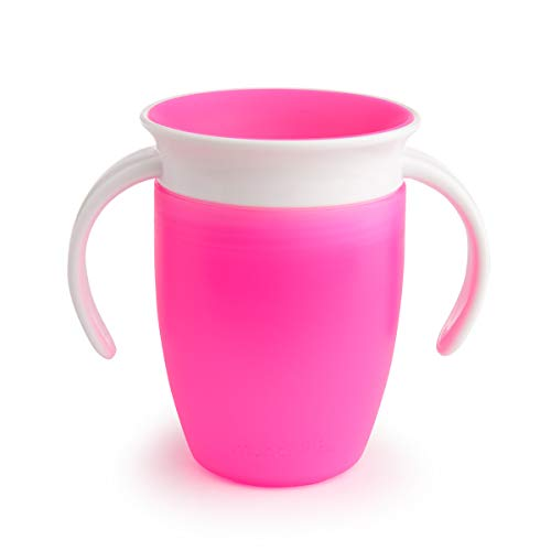 Munchkin Miracle 360ᵒ Trinklernbecher mit Griffen, auslaufsicher, ab 6 Monaten, rosa, 207 ml