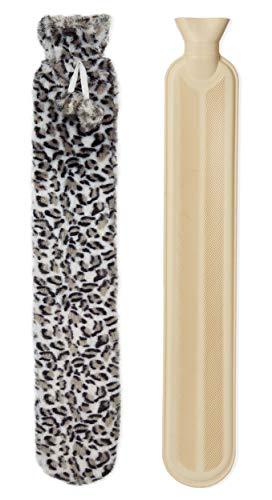 CityComfort Wärmflasche Leopard, mit Strickbezug Wärmekissen 2 Liter, Wärmflasche Mit Weichem Grau Fleece-Bezug | Wärmflasche Extra Lang Warm, Wärmekissen, Schmerzlinderung, Entspannung (Leopard)