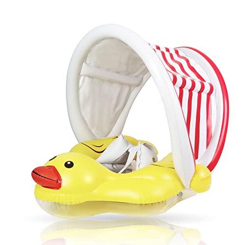 EDWEKIN® Baby Schwimmring, Baby Schwimmhilfe mit abnehmbarem Sonnendach, Baby Schwimmtrainer, Schwimmreifen für Babys, Kleinkinder; 9 Monate bis 36 Monate und 18kg.