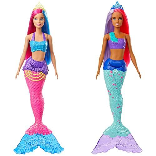 Barbie GJK08 - Dreamtopia Meerjungfrau Puppe (pinkes und blaues Haar), Spielzeug ab 3 Jahren & GJK09 - Dreamtopia Meerjungfrau Puppe (pink- und lilafarbenes Haar), Spielzeug ab 3 Jahren