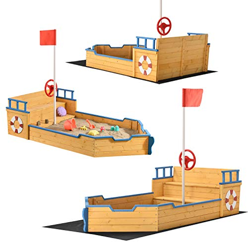 Juskys Sandkasten Käpt'n Pit - Piratenschiff Boot aus Holz – Große Kinder Sandkiste für den Garten mit Bodenplane und Sitzbank   Outdoor Sandbox