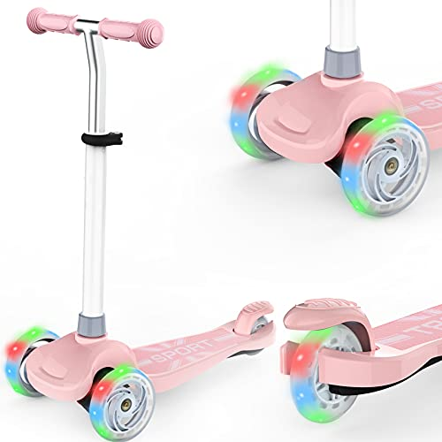 IMMEK Kinderroller 3 Räder für Kinder Roller ab Über 2 Jahre alt Kleinkinder Scooter für Mädchen und Jungen mit 3 PU LED Räders, Einstellbare Lenkerhöhe und Maximales Gewicht von 50 kg (Rosa)