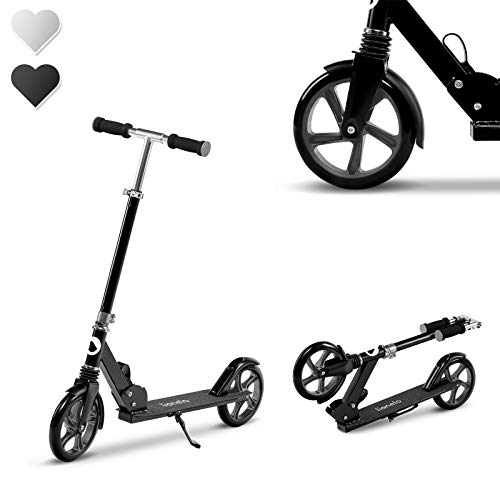 Lionelo Luca Roller Kinder, Stunt Scooter, Tretroller bis 100 kg, Räder 200mm, einstellbares Lenkrad, Bremse, zusammenklappbar (Schwarz-Grau)