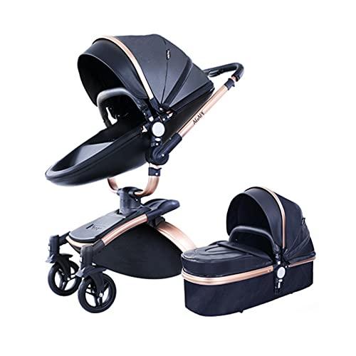 2 in 1 Kombikinderwagen Kinderwagen 2-in-1 Dreirad Lauflernhilfe Hochlandschaft Kinderwagen Faltbarer Kinderwagen Babywagen Babywagen für Baby 0-36 Monate (Schwarz 2 in 1)