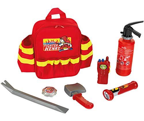 Theo Klein 8900 Fire Fighter Henry Feuerwehr-Rucksack I Mit batteriebetriebener Taschenlampe, Feuerlöscher und vielem mehr I Robuster Rucksack mit Reflektor und verstellbaren Riemen