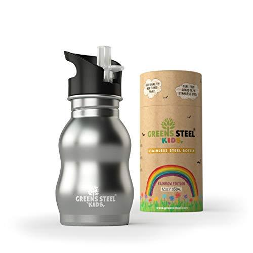 Greens Steel Edelstahl Wasserflasche für Kinder – 350ml Trinkbecher mit auslaufsicherem Sportverschluss und Strohhalm – Kinderfreundliche Flasche für Kleinkinder (Rostfreier Stahl)