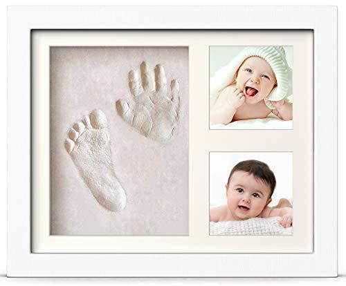 PewinGo Baby Handabdruck und Fußabdruck Set, Gipsabdruck Baby Hand und Fuß mit Echtholz Bilderrahmen- Perfekte Geschenkidee für Kleinkinder, Mütter und Väter, Erinnerungen für die Ewigkeit