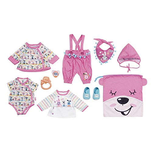 BABY Born 828144 Erstausstattung für 43cm Puppe - Leicht für Kleine Hände, Kreatives Spiel fördert Empathie & Soziale Fähigkeiten, für Kleinkinder ab 3 Jahren - Inklusive Kleidung, Rassel & mehr