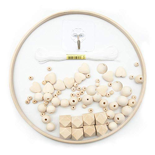 MOPOIN Mobile Basteln, DIY Holz Mobilen Rahmen Windspiel Bettglocke Kit, Handgemacht Baby Mobile Holz Kit, Holz Kit Handwerk für Kinder, Baby Mädchen oder Jungen