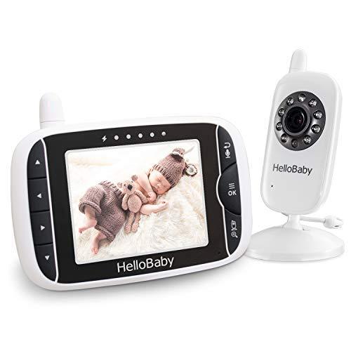 HelloBaby HB32 Wireless Video Babyphone mit Digitalkamera, VOX Funktion, Nachtsicht Temperaturüberwachung & 2 Way Talkback System,Weiß
