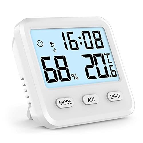 SCAYK LCD Digitale Temperaturfeuchtigkeitszähler Messgerät Home Indoor Outdoor-Hygrometer-Thermometer Wetterstation mit Uhrzeit-Time-Thermometer-Hygrometer (Color : W)