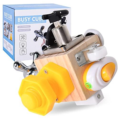FORMIZON Aktivitäts Würfel Spielzeug, Motorikwürfel Holzspielzeug, Spielcenter Activity Board für Die Frühkindliche, Montessori Spielzeug, Pädagogisches Spielzeug für Jungen Und Mädchen Geschenke