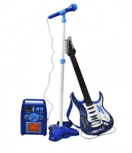 ISO TRADE E-Gitarre + Verstärker + Mikrofon mit Ständer Blau Set für Jungen 1554