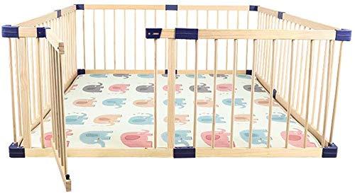 BGSFF Baby Premium Holzlaufstall, Faltbarer und tragbarer Raumteiler-Spielplatz für Kleinkinder, großes Aktivitätszentrum für Kinder mit Tür, sichere Barriere für den Innen- und Außenber