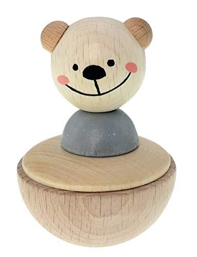 Hess Holzspielzeug 15714 - Stehaufmännchen aus Holz, Serie Bär nature, für Babys ab 12 Monaten, handgefertigt, ca. 8 x 5 x 5 cm groß, Geschenk zur Taufe oder zum Geburtstag
