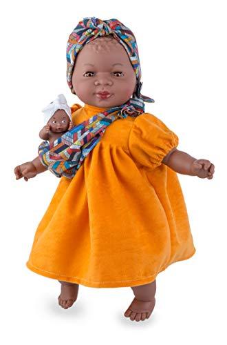 Marina & Pau - Puppe Afrikanische Marina mit Baby (verschiedene Modelle)