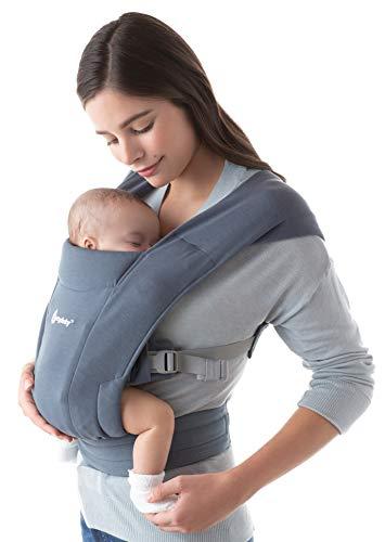 Ergobaby Embrace Babytrage für Neugeborene ab Geburt Extra Weich, Bauchtrage Baby Tragetasche Ergonomisch, Oxford Blau