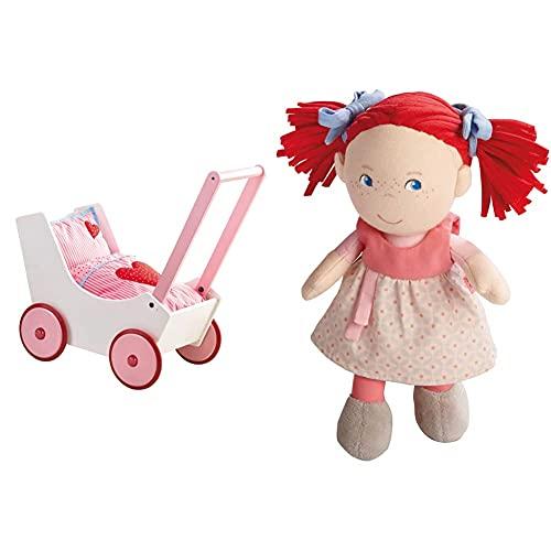 HABA 950 - Puppenwagen Herzen, niedlicher Puppenwagen mit zweifach verstellbarem Bügel, Matratze, Kissen und Decke, ab 12 Monaten & 5737 - Puppe Mirli weiche Stoffpuppe, ab 6 Monaten