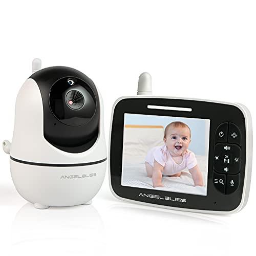 Angelbliss babyphone mit Kamera, LCD digitales Audio Babyphone, Nachtsichtkamera und Temperaturüberwachung, 300 Meter Reichweite, Gegensprechfunktion, Mikrofon mit hoher Empfindlichkeit, weiß