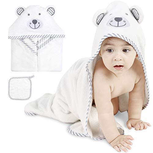 ABirdon Baby Kapuzenhandtuch mit Waschlappen, Bio-Baumwolle Baby Badetuch, Extra Saugfähig, Bärenohrdesign, Weiß Weich Baby Badetücher für Neugeborene und Kinder 0-3 Jahre Alt, 90 x 90cm