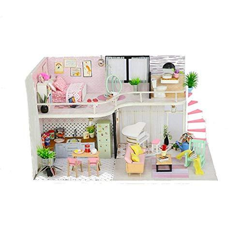 OUY Puppenhaus Miniatur Handgemachtes DIY Holzpuppenhaus Miniaturpuppenhaus Mit Staubschutz Spaß Zusammengesetztes Spielzeuggeschenk